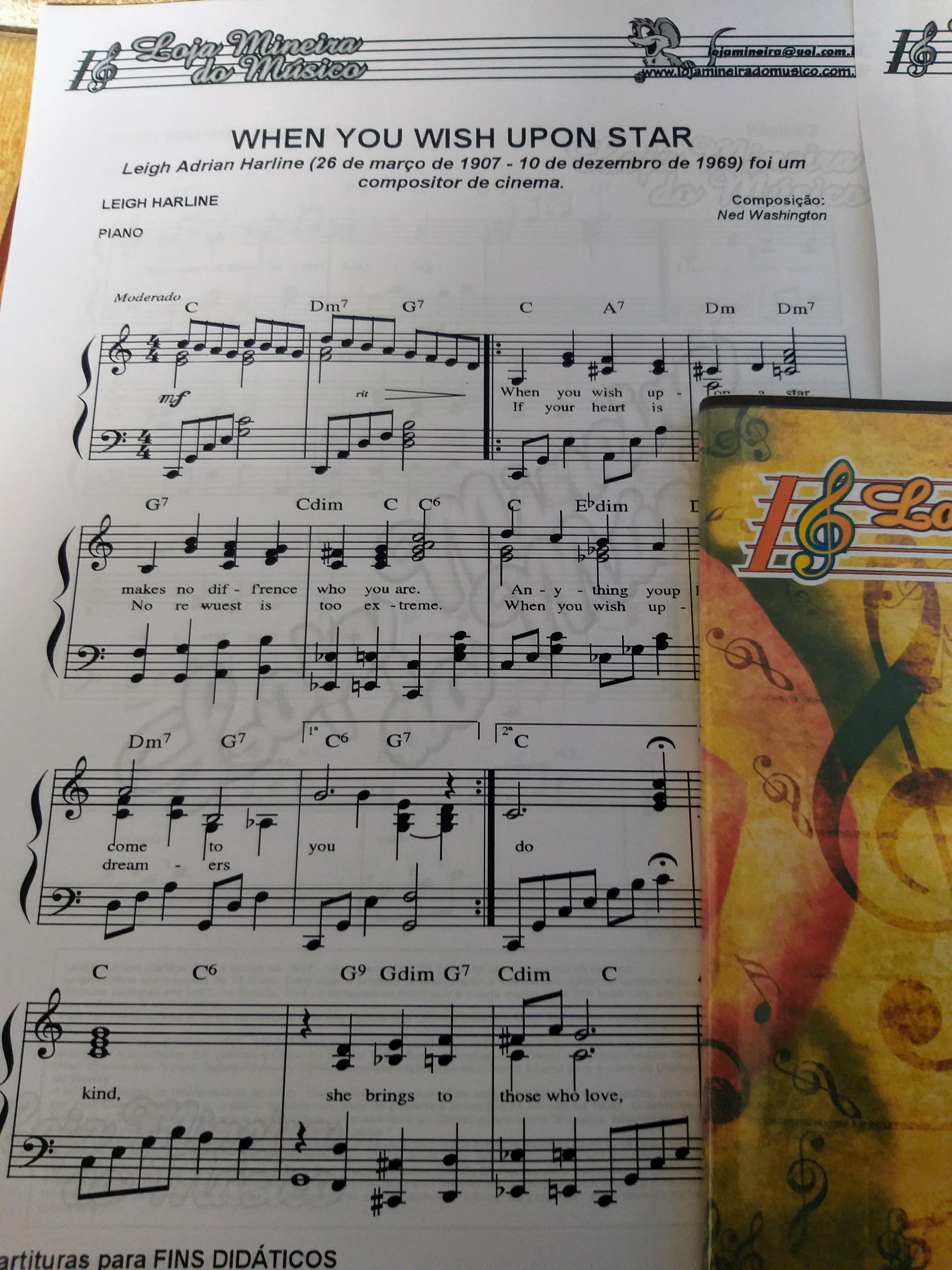 When You Wish upon star partitura para piano loja mineira do musico