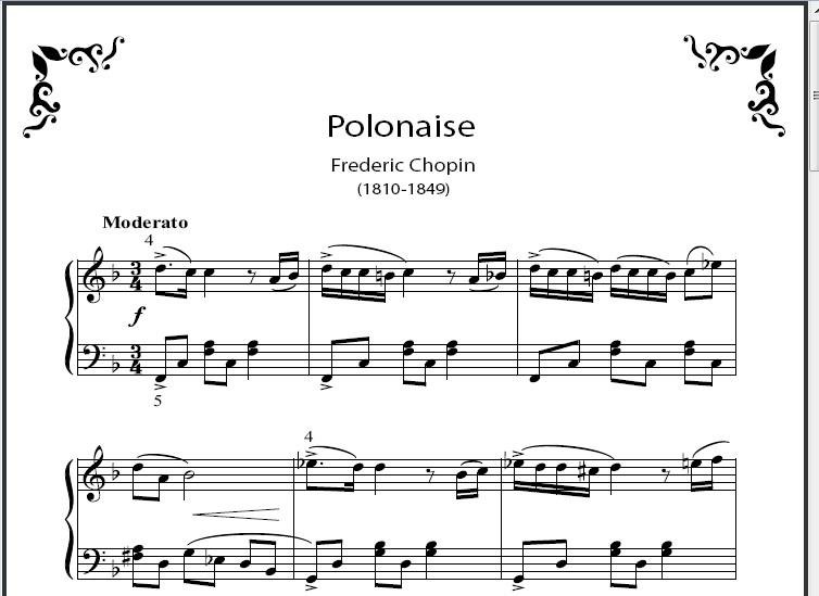 exemplo de partitura de piano