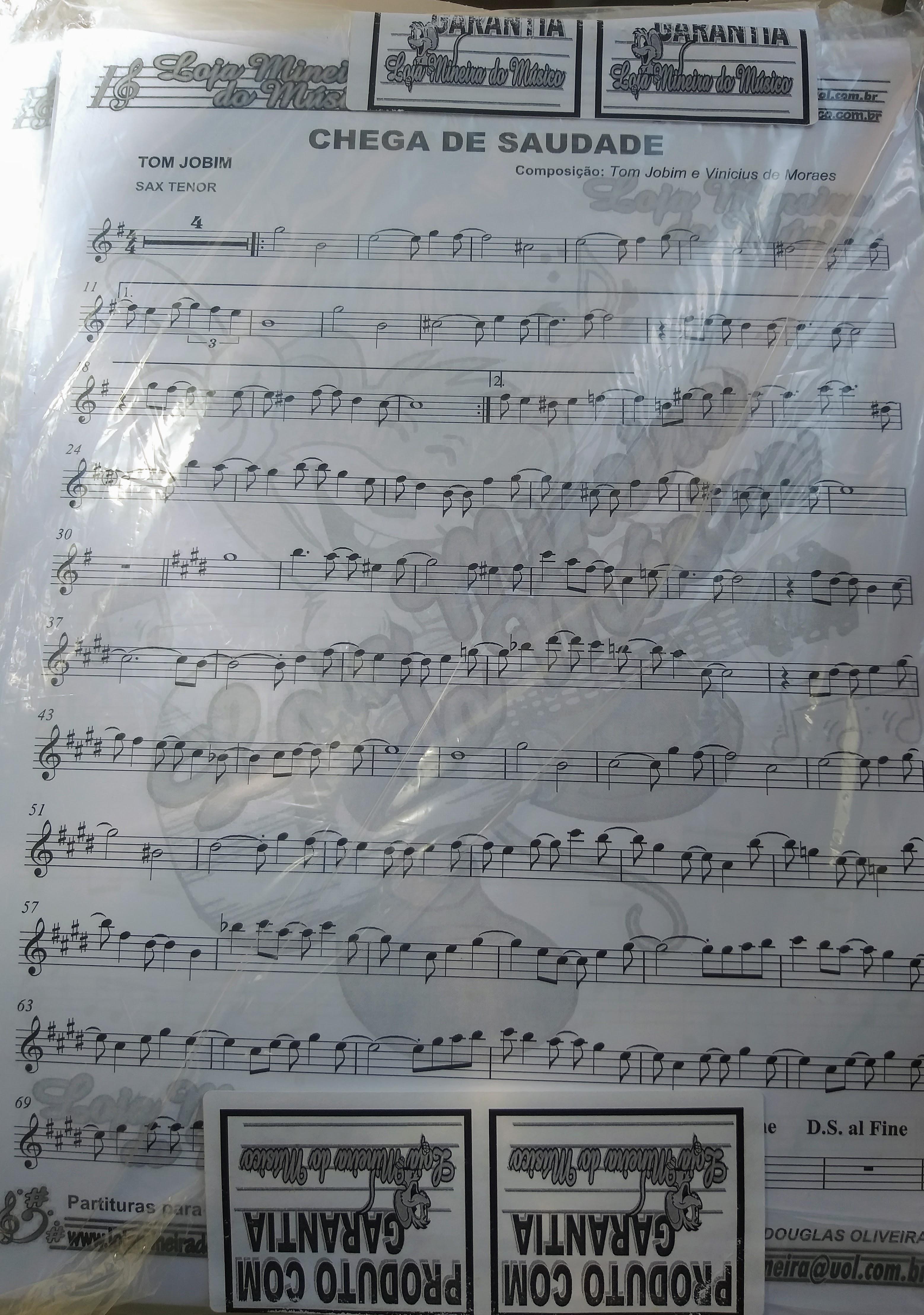 Partitura bossa nova para sax tenor e alto. Bossa nova para saxofone. Só danço samba chega de saudade e outras