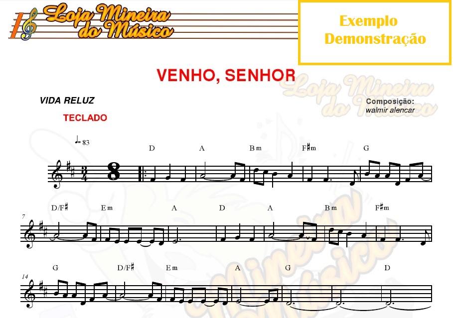 Exemplo de como são as partituras católicas para o teclado.