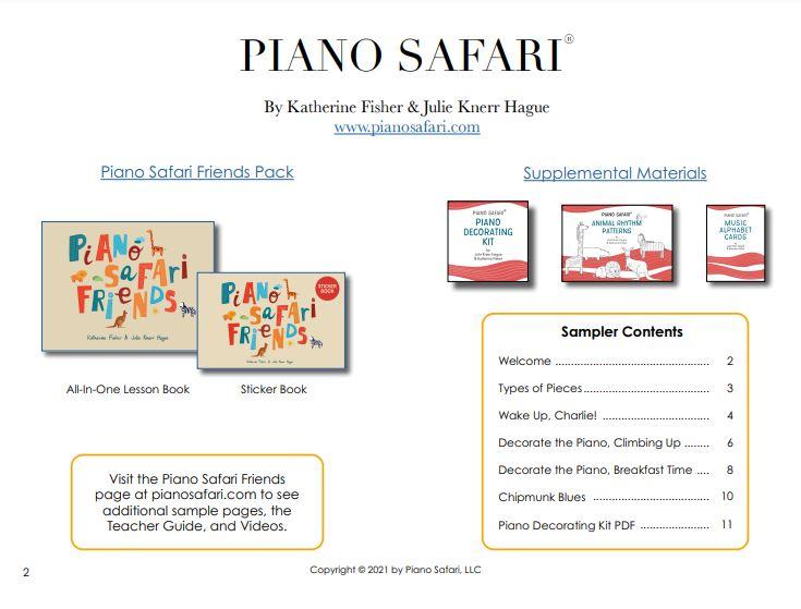"""Piano Safari > Amigos do Piano Safari  PIANO SAFARI FRIENDS    O Piano Safari Friends Student Pack  se destina a preparar os alunos para o Piano Safari Nível 1. Seu objetivo é fornecer às crianças experiências musicais ricas e agradáveis através da imitação, improvisação, canto, movimento e aprendizagem dos fundamentos da notação rítmica e pré-equipe lendo. A idade recomendada é de 4 a 6 anos. O livro principal vem com um Livro de Adesivos correspondente, um PDF do Kit de Decoração para Piano, um PDF das Folhas do Alfabeto e faixas de áudio que o acompanham.  Clique aqui para ver uma amostra em PDF de peças e atividades do início do livro!  Clique aqui para fazer o download gratuito de """"Colors Shine"""", uma peça para seguir o líder da Unidade 2.  Aqui está um vídeo do Follow the Leader para """"Colors Shine."""" É melhor usá-lo após a apresentação da peça na lição e deve ser usado em casa."""