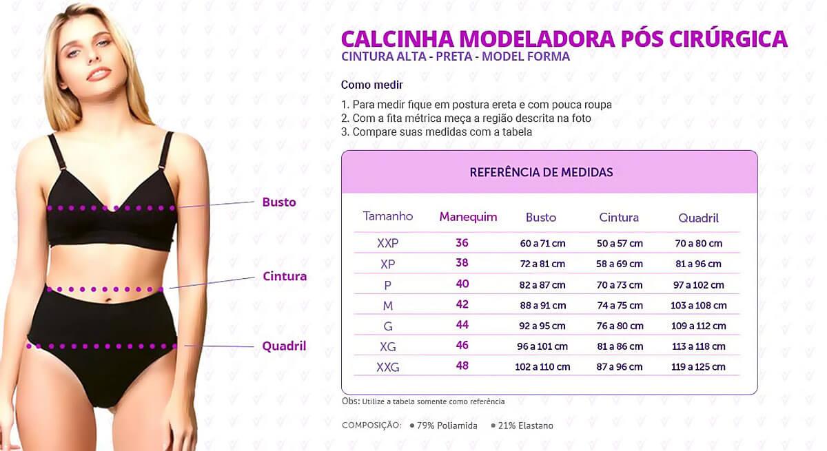 Calcinha Modeladora Pós Cirúrgica Cintura Alta - Preta - Model Forma - Info