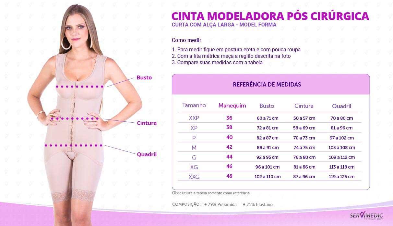 Cinta Modeladora Pós Cirúrgica Curta Com Alça Larga - Model Forma - infografico