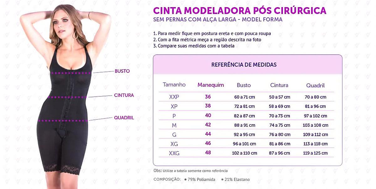 Cinta Modeladora Pós Cirúrgica Curta com Alça Fina Preto infografico