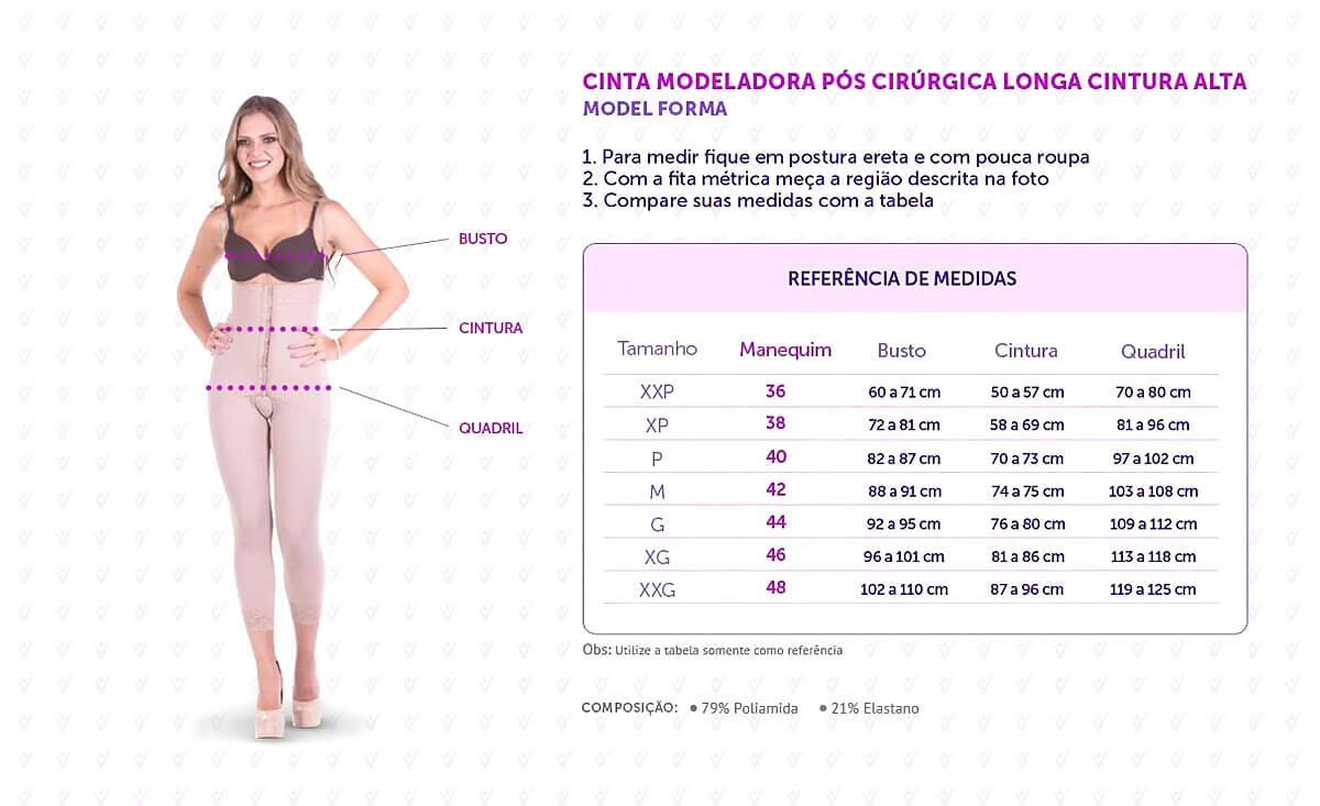Cinta Modeladora Pós Cirúrgica Longa Cintura Alta - Model Forma - Infográfico
