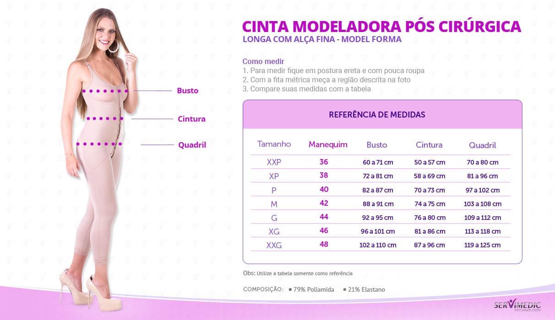 Cinta Modeladora Pós Cirúrgica Longa com Alça Fina Model Forma info