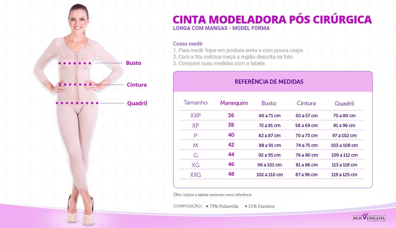 Cinta Modeladora Pós Cirúrgica Longa com Mangas - Model Forma -  infografico