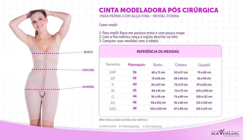 Cinta Modeladora Pós Cirúrgica Meia Perna com Alça Fina - Model Forma