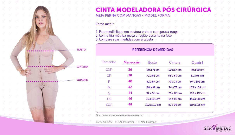Cinta Modeladora Pós Cirúrgica Meia Perna com Mangas - Model Forma - table.jpg