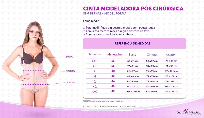 Cinta Modeladora Pós Cirúrgica Sem Pernas - Model Forma - informativo