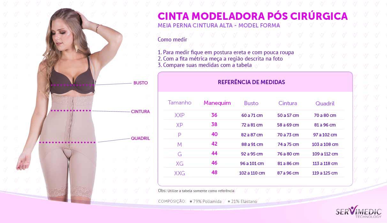Cinta Modeladora Pós Cirúrgica - Preta infografico