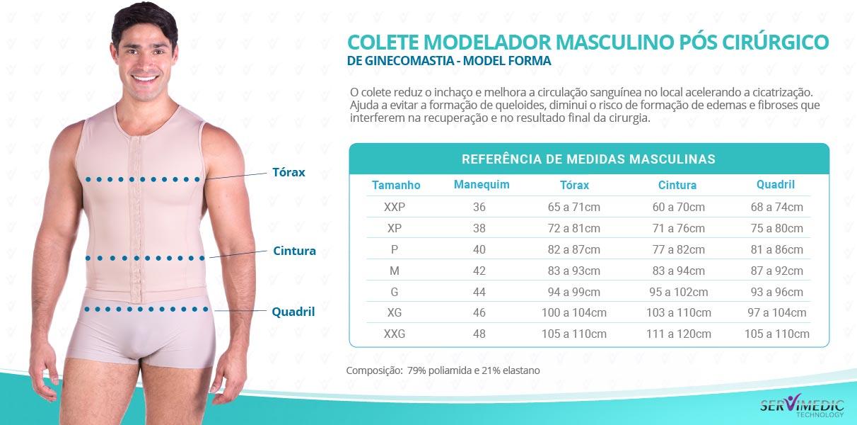 Colete Modelador Masculino Pós Cirúrgico de Ginecomastia - Model Forma---tabela