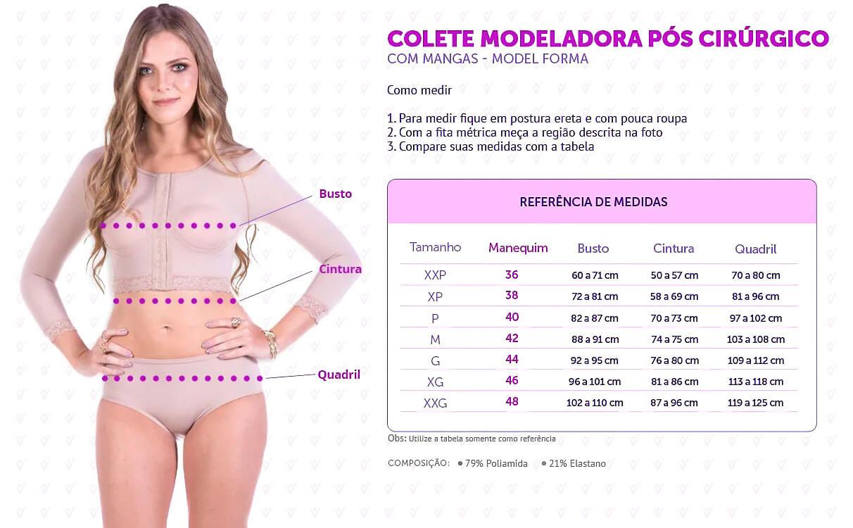 Colete Modelador Pós Cirúrgico com Mangas - Model Forma -- infográfico