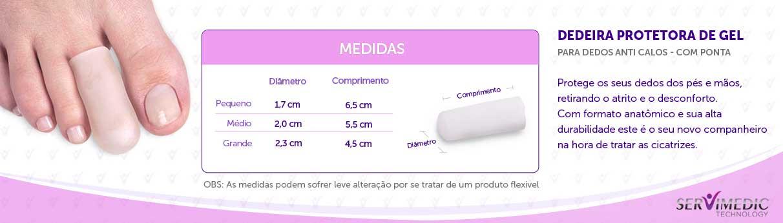 infográfico Dedeira Protetora de Gel para Dedos Anti Calos - Com Ponta