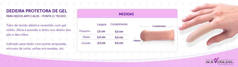 Dedeira Protetora de Gel para Dedos Anti Calos - Ponta c Tecido - infográfico