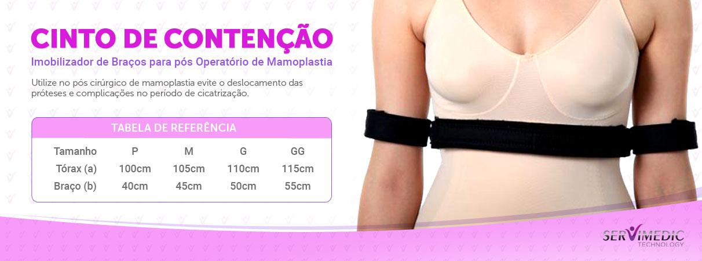 Infográfico Cinto de Contenção Imobilizador de Braços para pós Operatório de Mamoplastia Infográfico