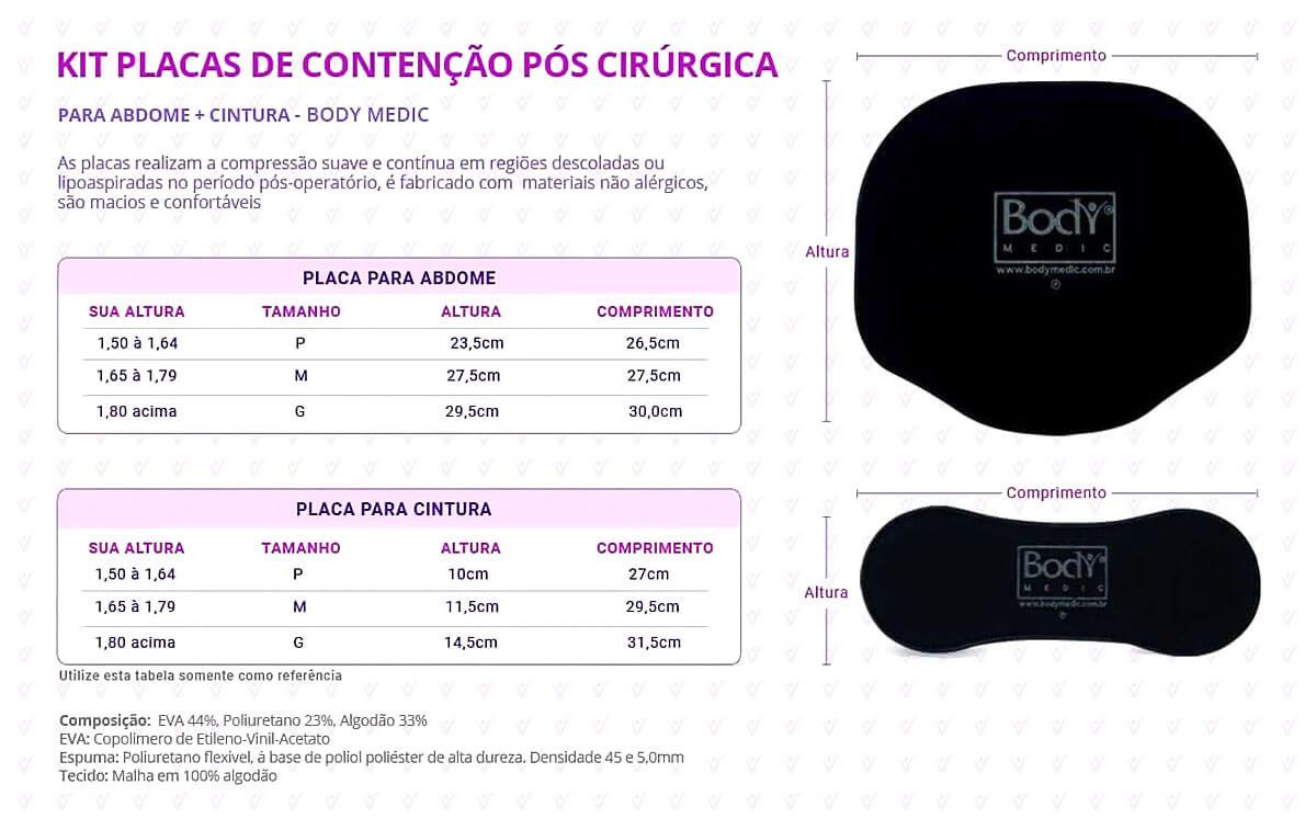 Kit Placas de Contenção pós Cirúrgica para Abdome e Cintura Info