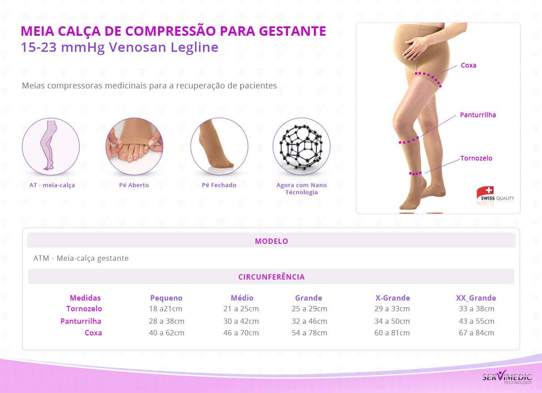 Meia Calça de Compressão para Gestante 15-23 mmHg Venosan Legline infografico