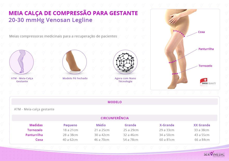 Meia Calça de Compressão para Gestante 20-30 mmHg Venosan Legline-table