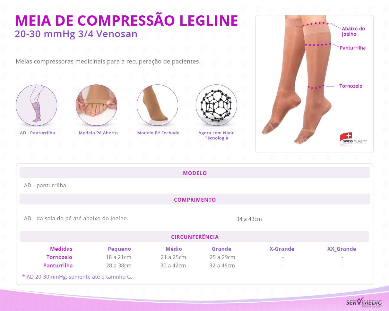 Meia de Compressão 20-30 mmHg 34 Venosan Legline-inform