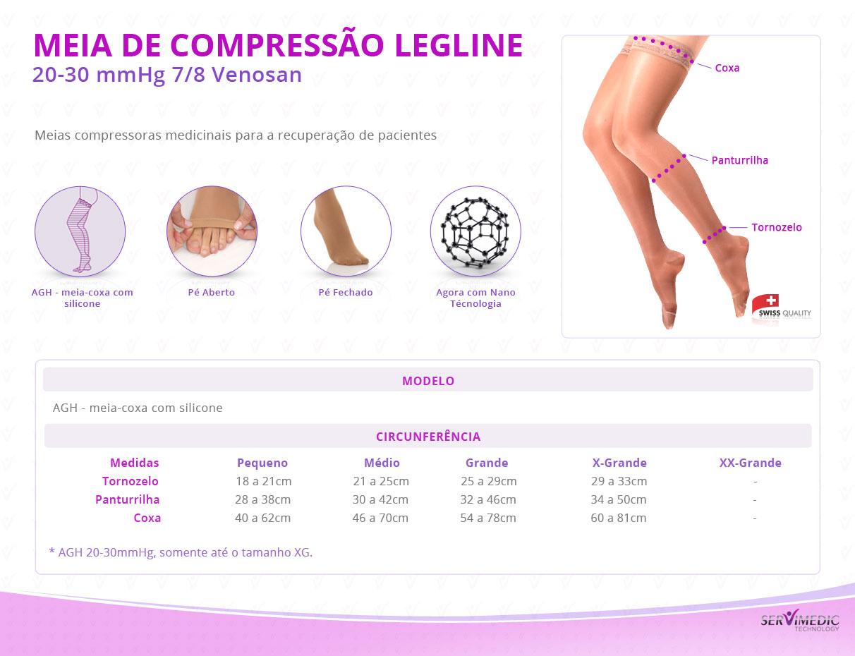 Meia de Compressão 20-30 mmHg 7-8 Venosan Legline-inform