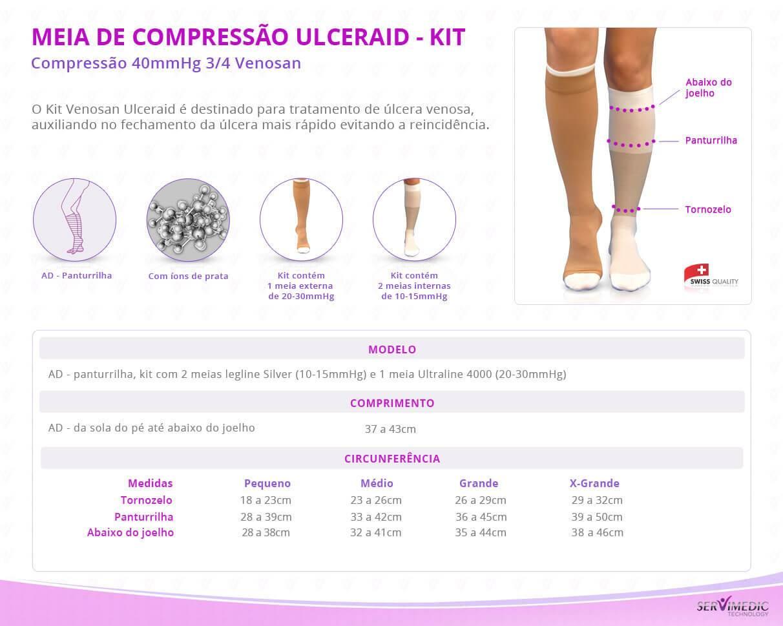 Meia de Compressão 40 mmHg 34 Venosan Ulceraid -kit
