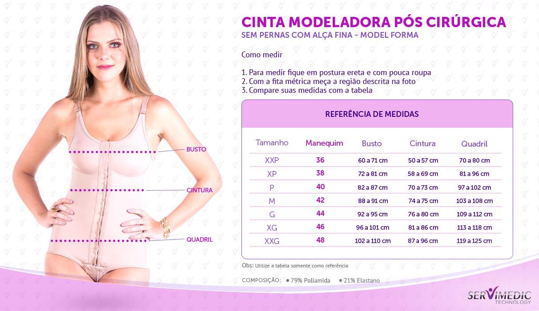 Modelador Sem Pernas com Abertura Frontal e Alça Fina - Tabela