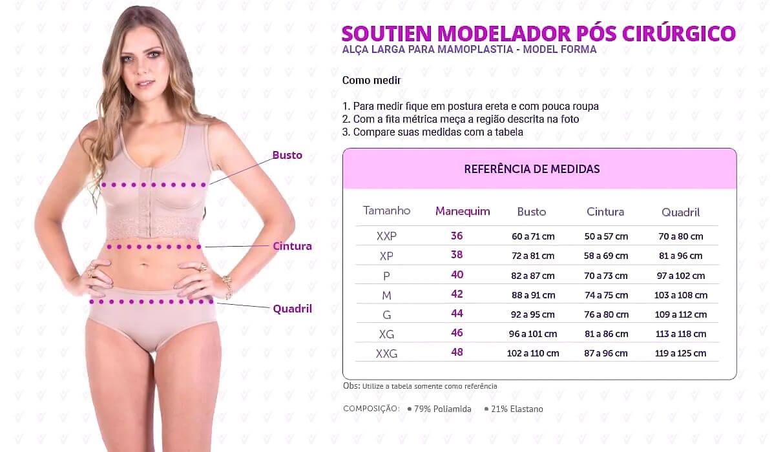 Soutien Modelador Pós Cirúrgico Alça Larga para Mamoplastia - Model Forma - Infográfico