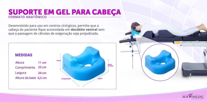 Suporte em Gel para Cabeça Formato Anatômico Decubio Ventral - infografico