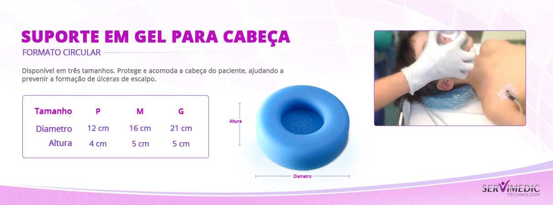 Suporte em gel para cabeça Formato Circular - Infografico