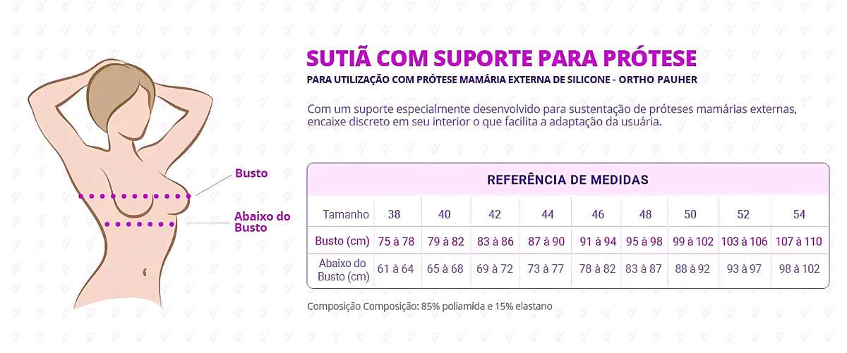 Sutiã com Suporte para Prótese Mamária Externa de Silicone Liso infográfico
