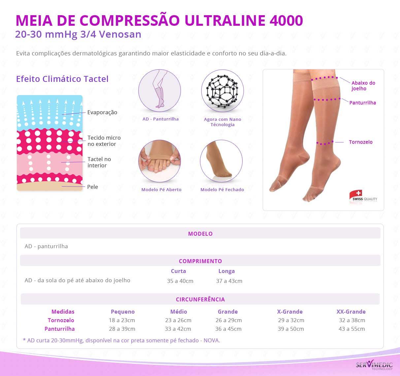 Meia de Compressão 20-30 mmHg 34 Venosan Ultraline 4000 - Bege - Tabelinha