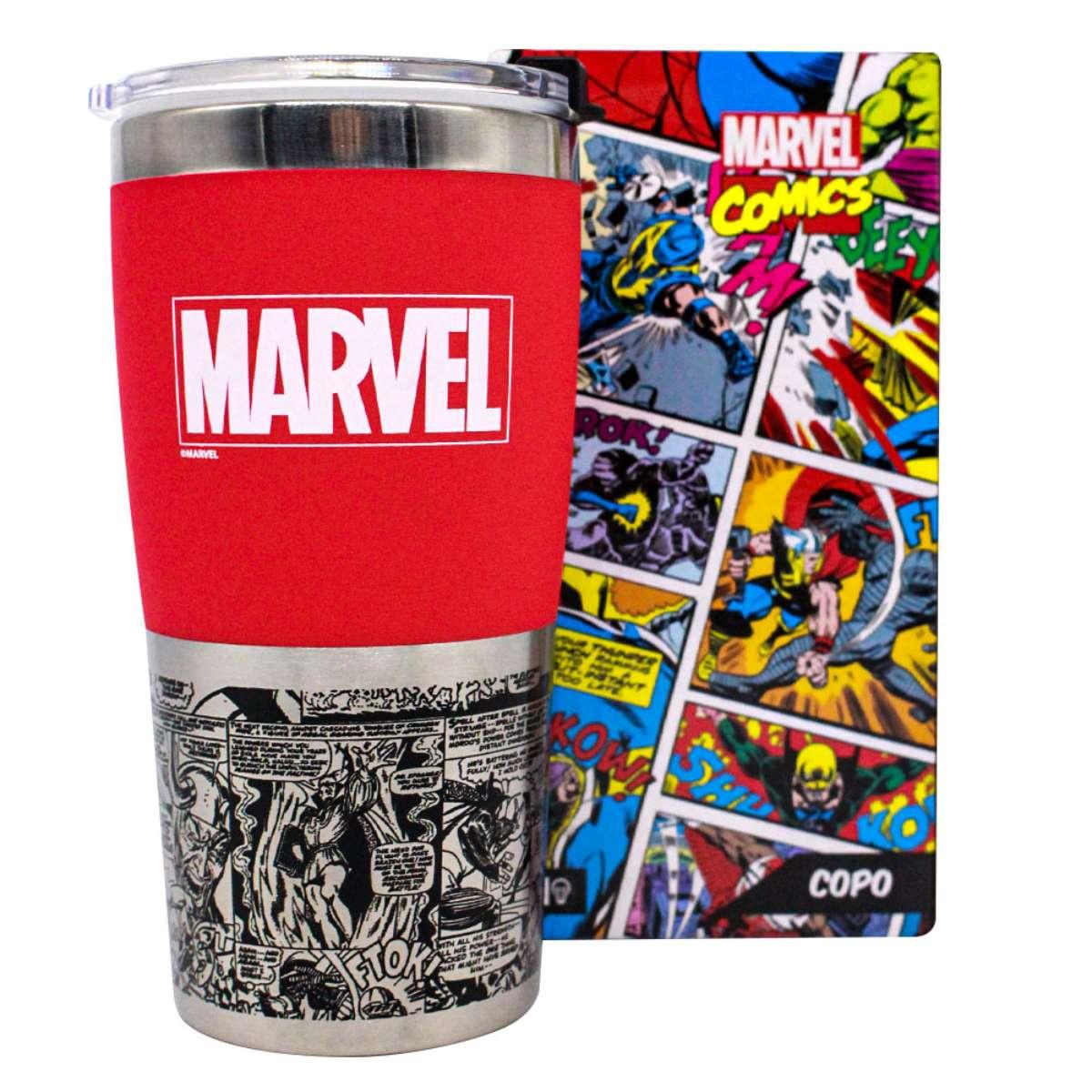 Copo Viagem Marvel Classic Logo Comics Quadrinhos HQ