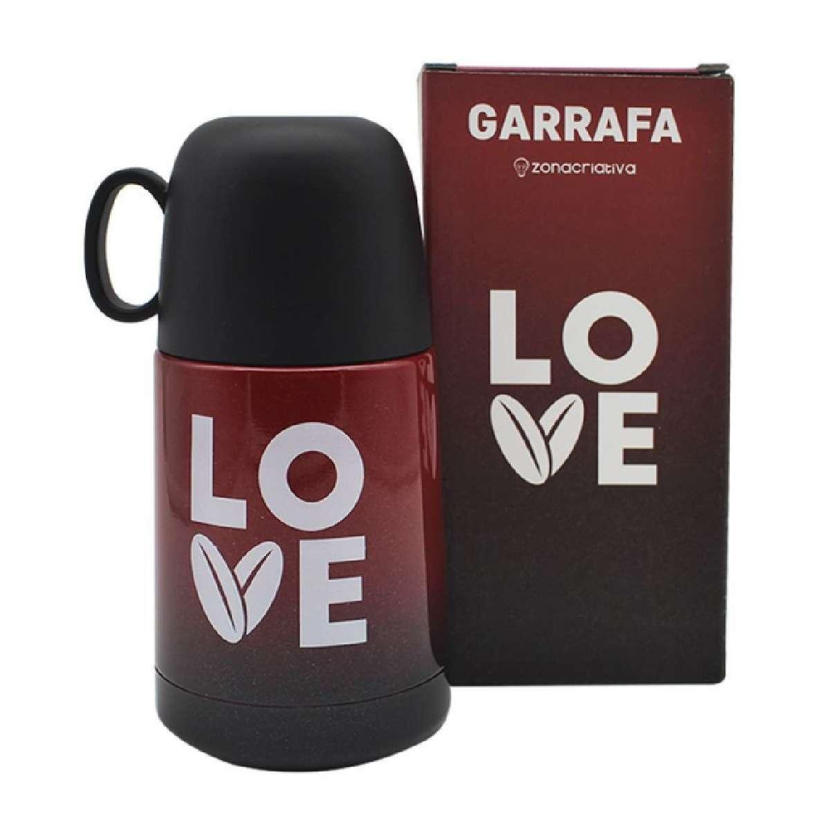 Mini Garrafa Térmica com Caneca Love Coração Amor