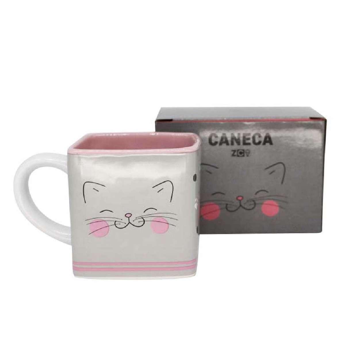 Caneca Quadrada Cubo Gato Gatinho Meow Power