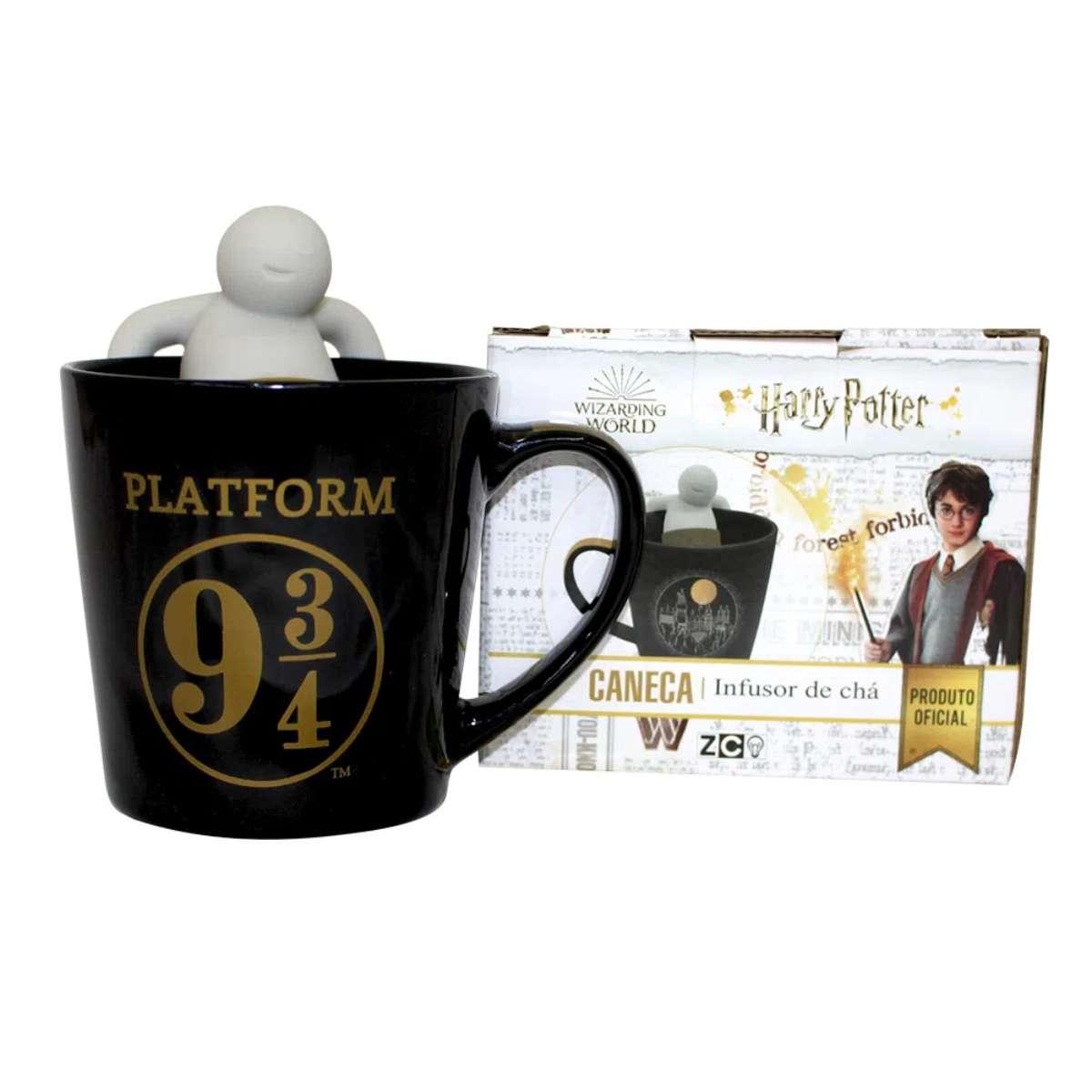 Caneca com Infusor Para Chá Harry Potter Plataforma 9 3/4 Hogwarts