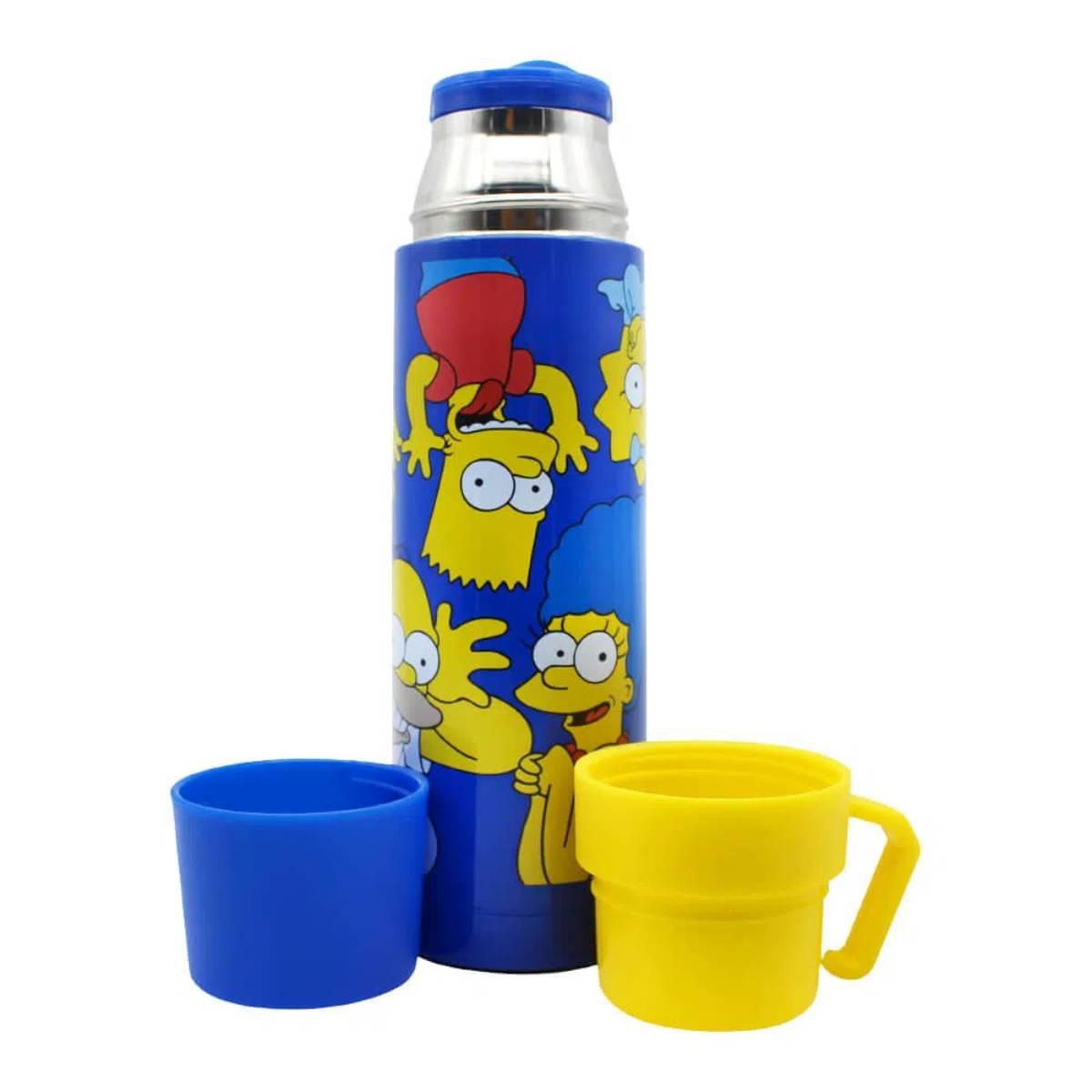 Garrafa Térmica Café Chá Bebidas Quentes com 2 Tampas 2 Canecas Simpsons Caretas