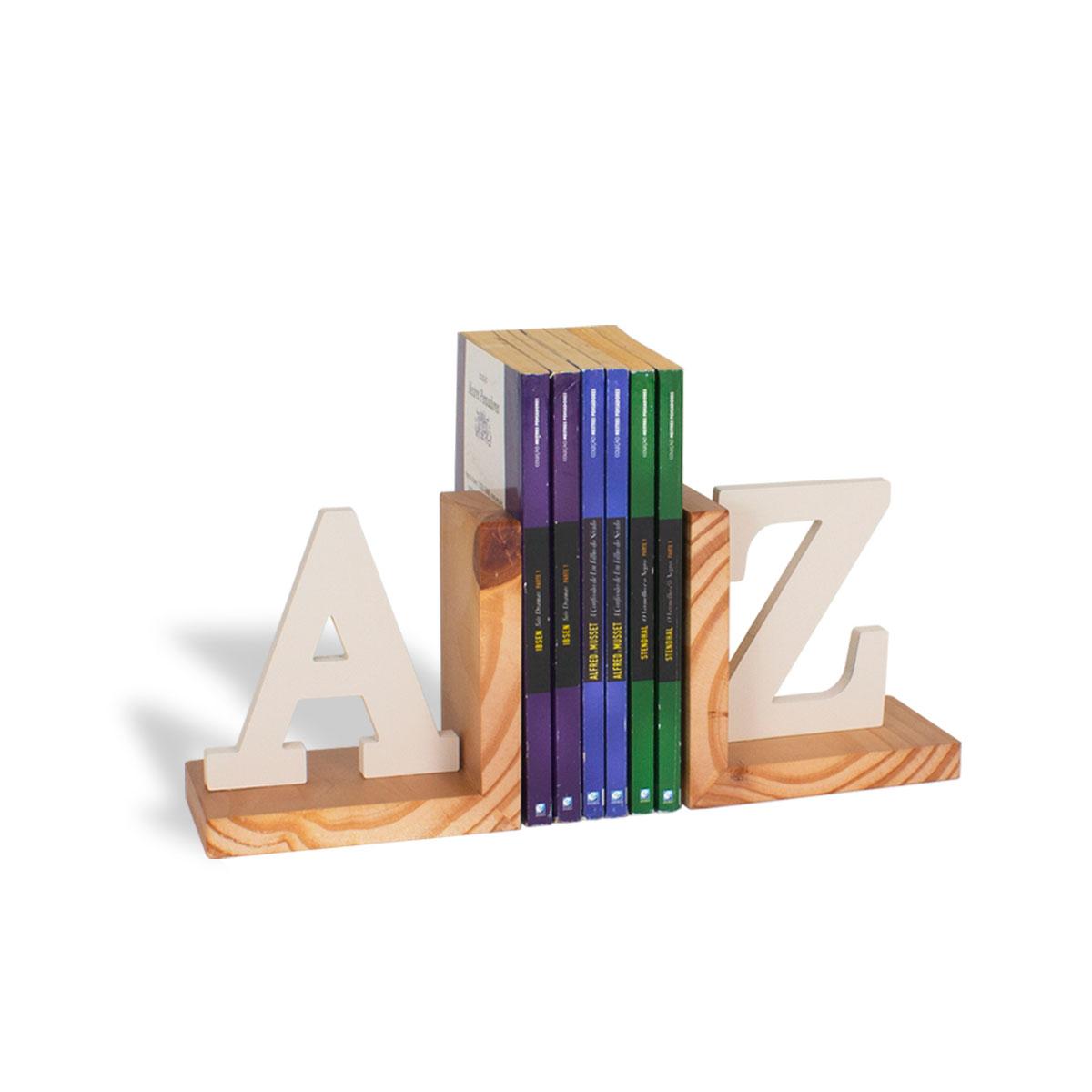 Aparador de Livros AZ Bege Madeira Pinus - Presente Super
