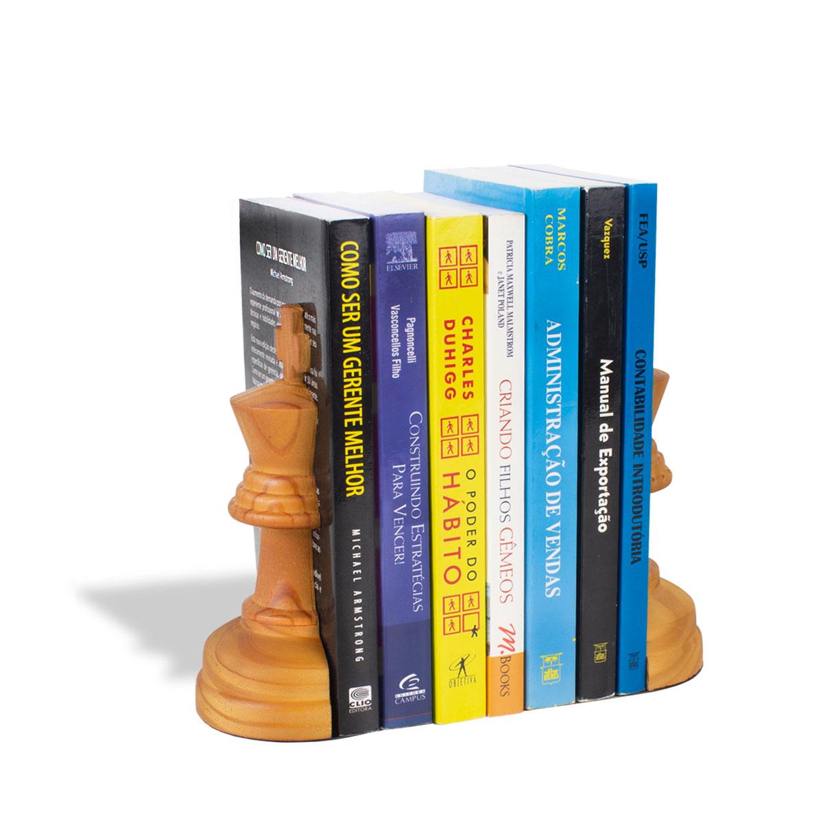 Aparador de Livros Rei Xadrez Pinus Envelhecido - Presente Super