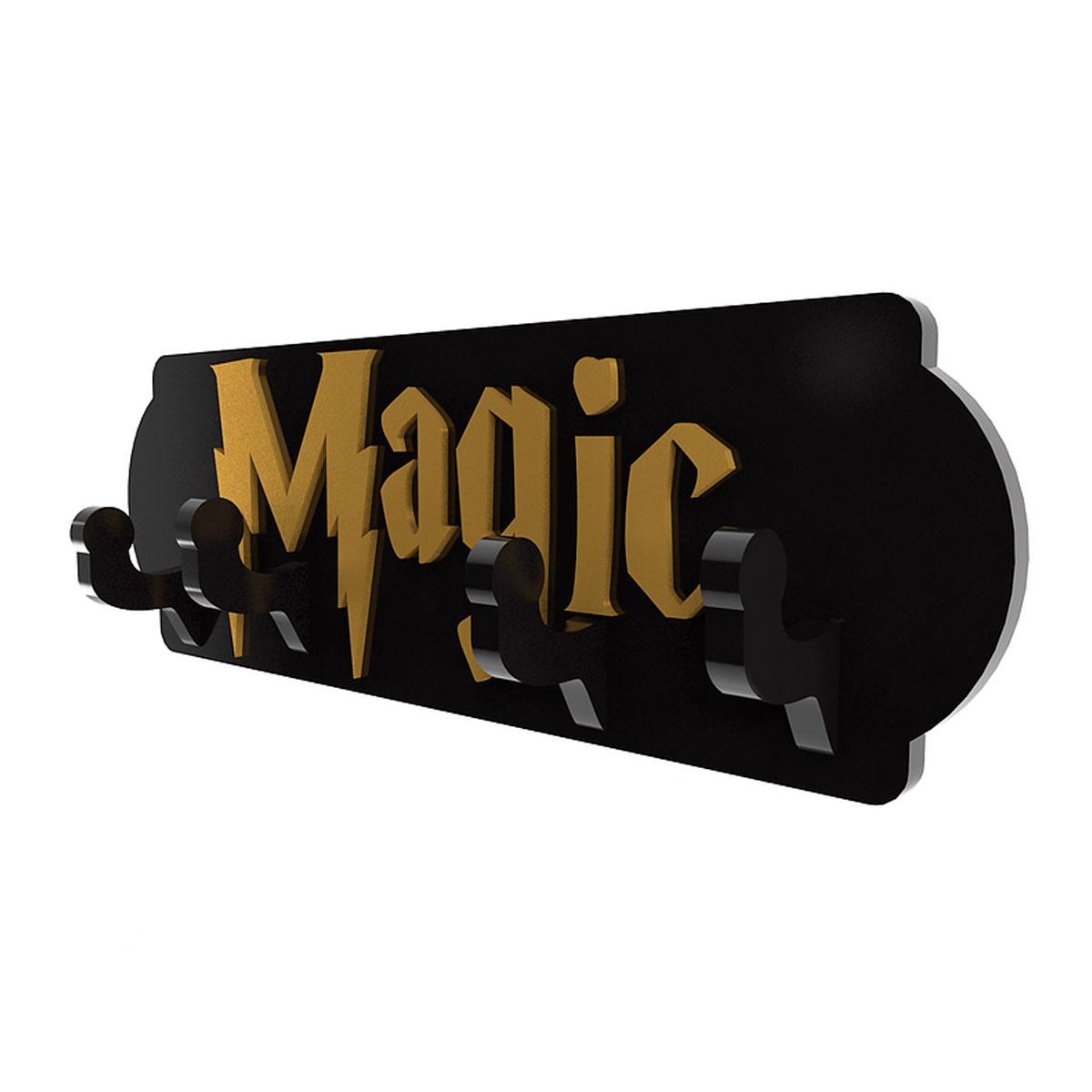 Cabideiro Porta Chaves de Madeira Harry Potter Magic - Presente Super
