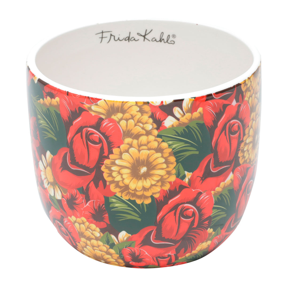 Cachepot Vaso Decorativo de Cerâmica Frida Kahlo Yellow Flower - Presente Super