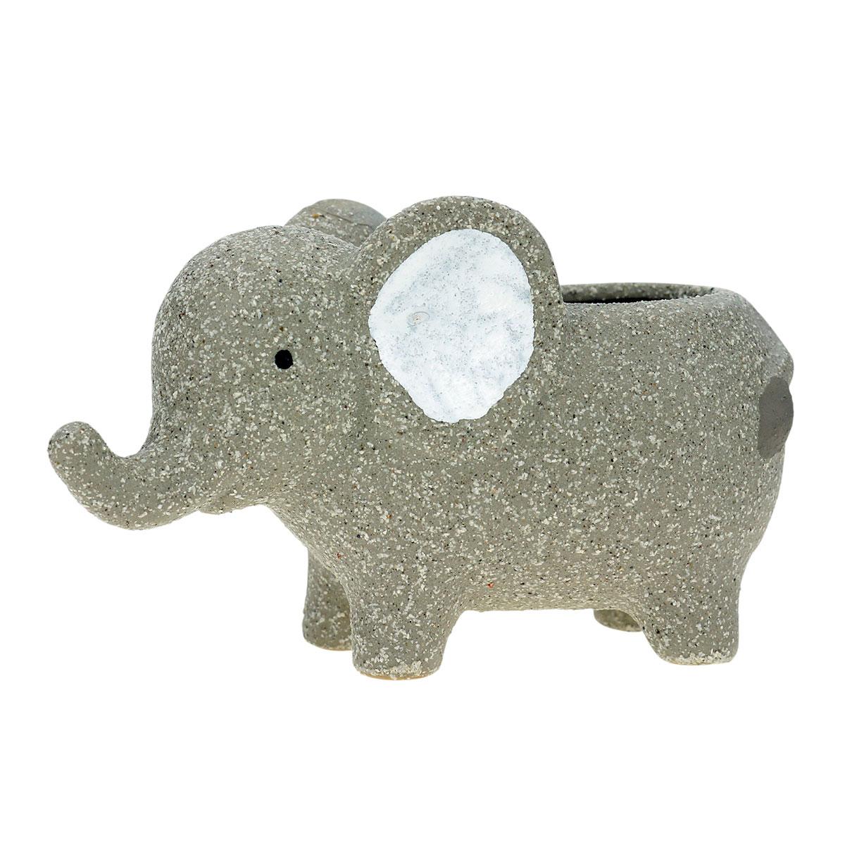 Cachepot Concreto Vaso Decorativo Baby Elefante Cinza - Presente Super