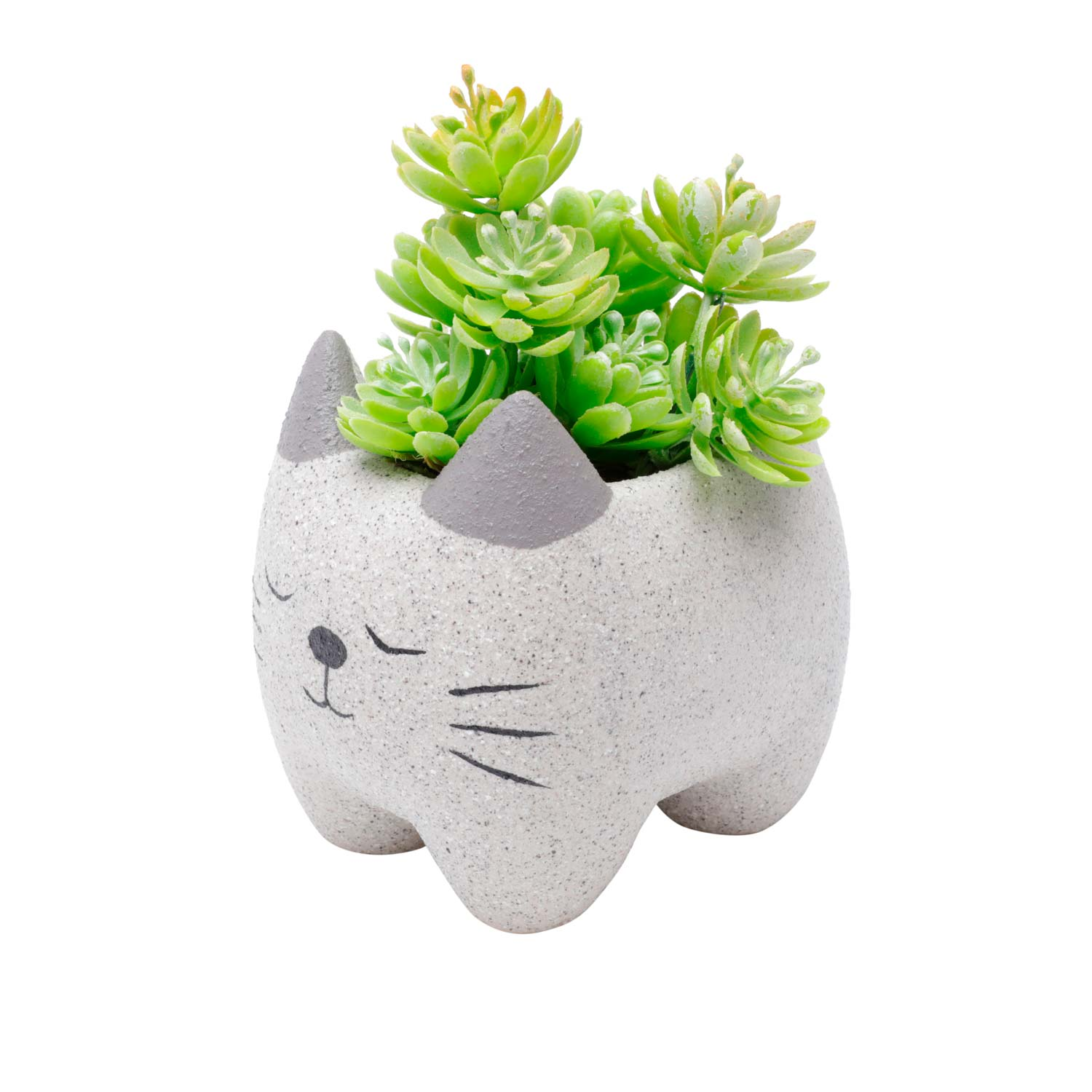 Cachepot Concreto Vaso Decorativo Sleeping Cat Gatinho - Presente Super