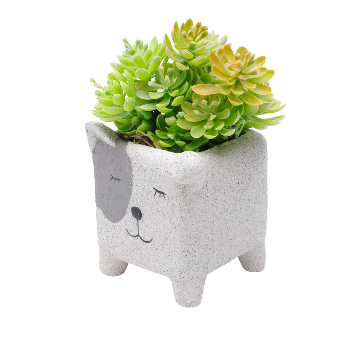 Cachepot Concreto Vaso Decorativo Sleeping Dog - Presente Super