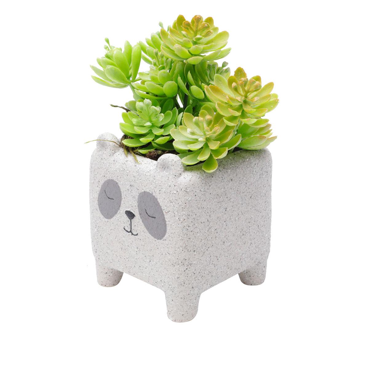 Cachepot Concreto Vaso Decorativo Sleeping Panda - Presente Super