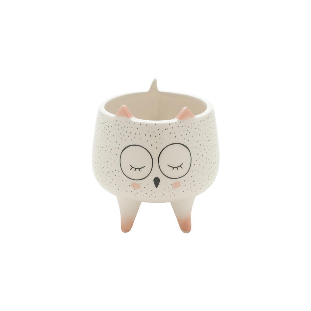 Cachepot Vaso Decorativo de Cerâmica Coruja Sleeping Owl