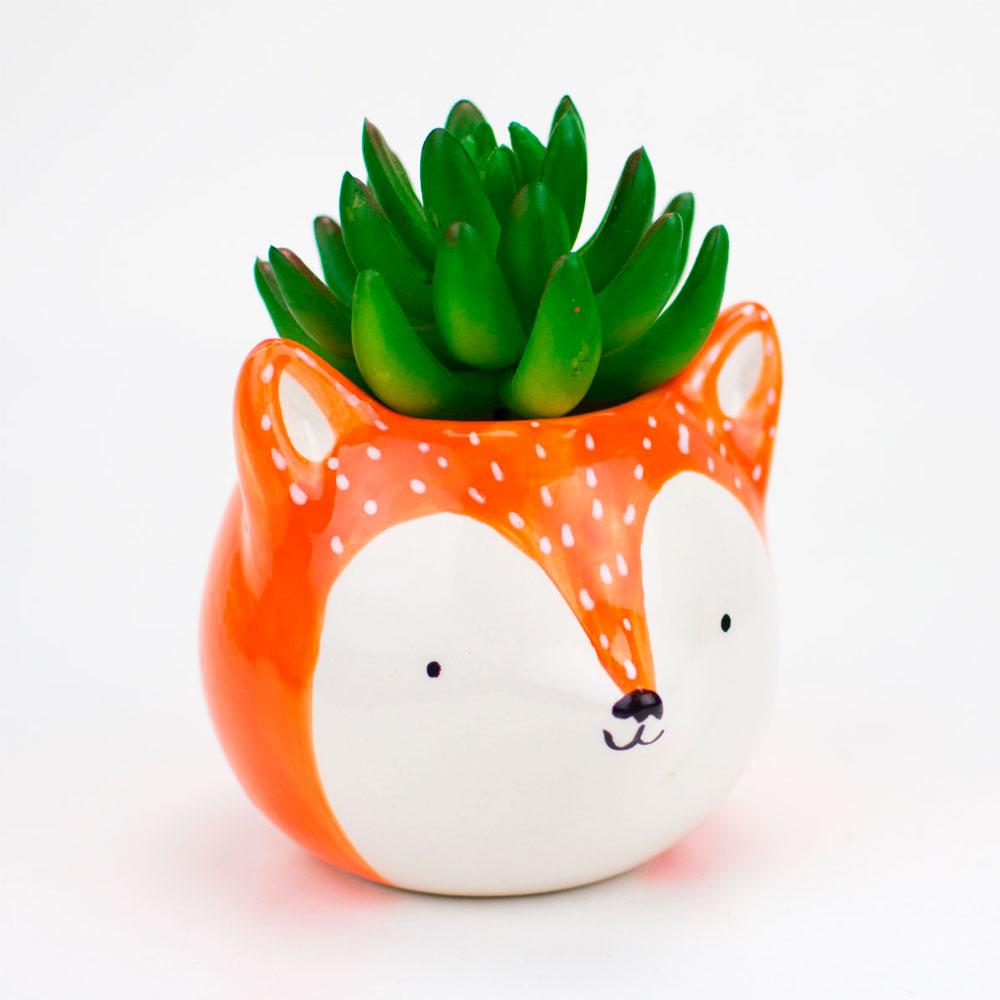 Cachepot Vaso Decorativo de Cerâmica - Raposa Fox Laranja