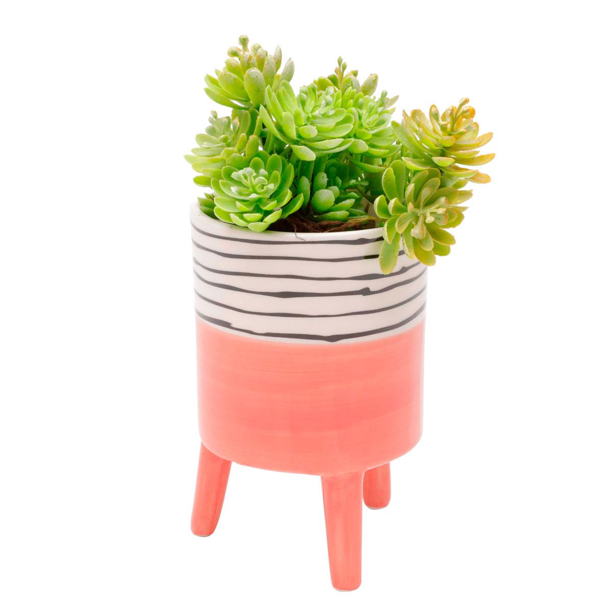 Cachepot Vaso Decorativo de Cerâmica Bright Colors Salmão Grande - Presente Super