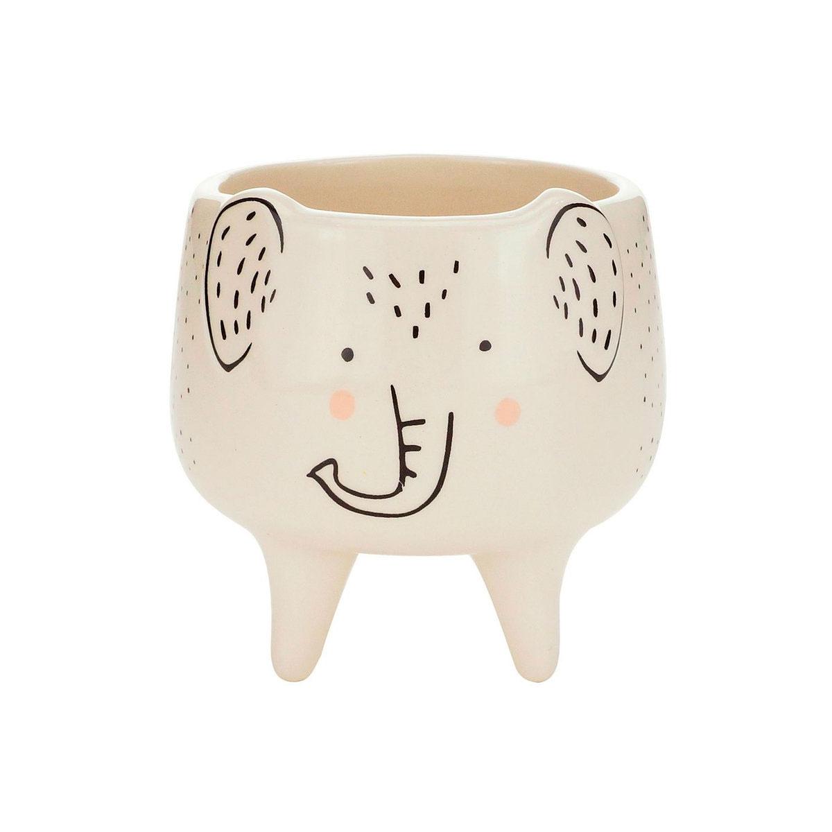 Cachepot Vaso Decorativo de Cerâmica Elefante Charmoso - Presente Super