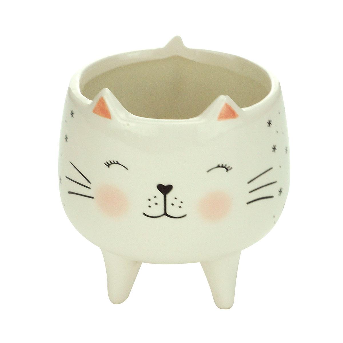Cachepot Vaso Decorativo de Cerâmica Gatinho Charmoso - Presente Super